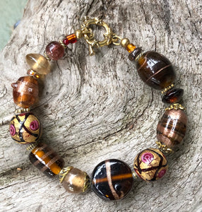 Lampwork Glass Bracelet - Brown Pink Amber