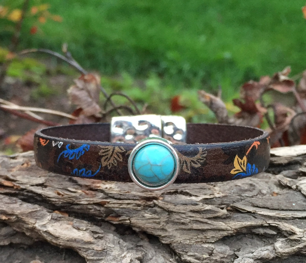 Leather Bracelet - Italian Print with Turquoise Bling