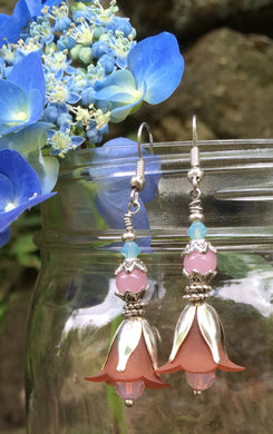 These Brown Pink and Blue Tulip Earrings with Silver adornments measure just over 2