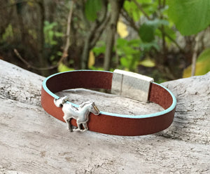 Leather Bracelet - Aqua Edged Brown Leather Bracelet with Silver Horse