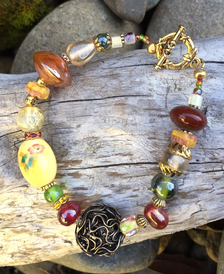 Lampwork Glass Bracelet - Buttery Yellow and Rust with Bird's Nest