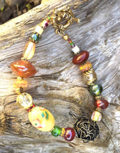 Load image into Gallery viewer, Lampwork Glass Bracelet - Buttery Yellow and Rust with Bird's Nest