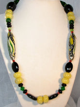 Load image into Gallery viewer, Lampwork Glass Necklace - Black Green and Buttery Yellow
