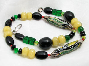 Lampwork Glass Necklace - Black Green and Buttery Yellow