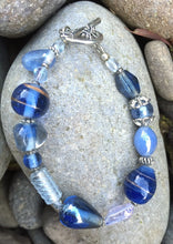 Load image into Gallery viewer, Lampwork Glass Bracelet - Cadet Blue Clear Silver