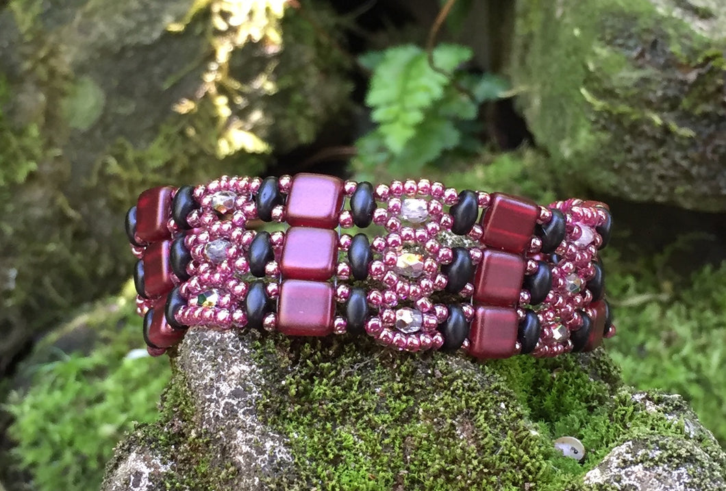 Beaded Bracelet - Claret and Gunmetal Brocade