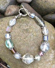 Load image into Gallery viewer, Lampwork Glass Bracelet - Clear Gray Amber Green