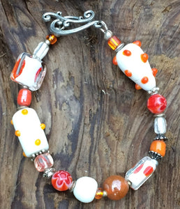 Lampwork Glass Bracelet - Clear Orange White