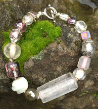 Load image into Gallery viewer, Lampwork Glass Bracelet - Clear Pink Gray Silver