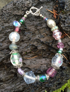 Lampwork Glass Bracelet - Clear Green Pink Gray