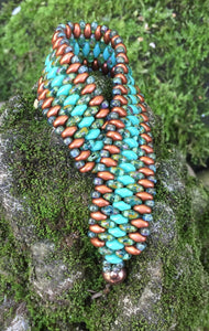 Snakeskin Bracelet - Copper and Turquoise Green