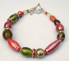 Load image into Gallery viewer, Lampwork Glass Bracelet - Coral Olive Silver