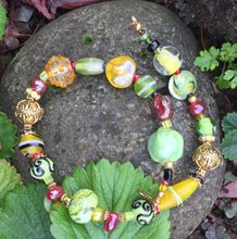 Load image into Gallery viewer, Lampwork Glass Necklace - Cranberry, Spring Green and Yellow