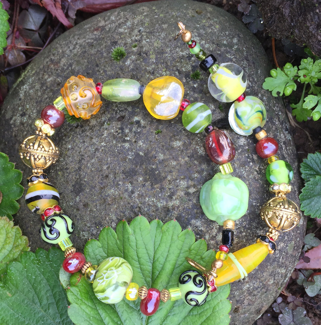 Lampwork Glass Necklace - Cranberry, Spring Green and Yellow