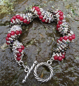 Beaded Bracelet - Cranberry Black and Silver Vine