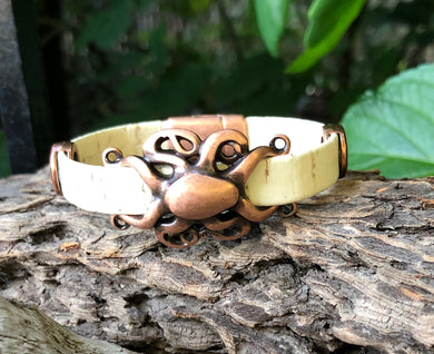 Leather Bracelet - Cream Portuguese Cork with Copper Octopus