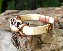 Load image into Gallery viewer, Leather Bracelet - Cream Portuguese Cork with Copper Octopus