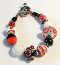 Load image into Gallery viewer, Lampwork Glass Bracelet - Dark Orange Black White and Silver