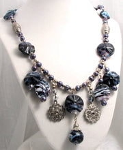 Load image into Gallery viewer, Lampwork Glass Necklace - Dark Purple & White Jingles