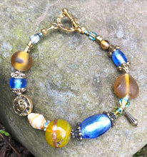 Load image into Gallery viewer, Lampwork Glass Bracelet - Dark Yellow Lt Blue