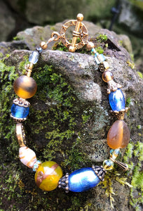 Lampwork Glass Bracelet - Dark Yellow Lt Blue