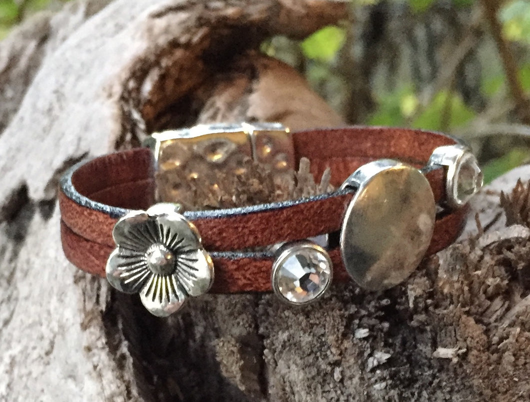 Leather Bracelet - Double Crystal and Flower