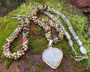 Kumihimo Necklace and Bracelet Set - Earthy Prehnite Set