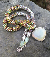 Load image into Gallery viewer, Kumihimo Necklace and Bracelet Set - Earthy Prehnite Set