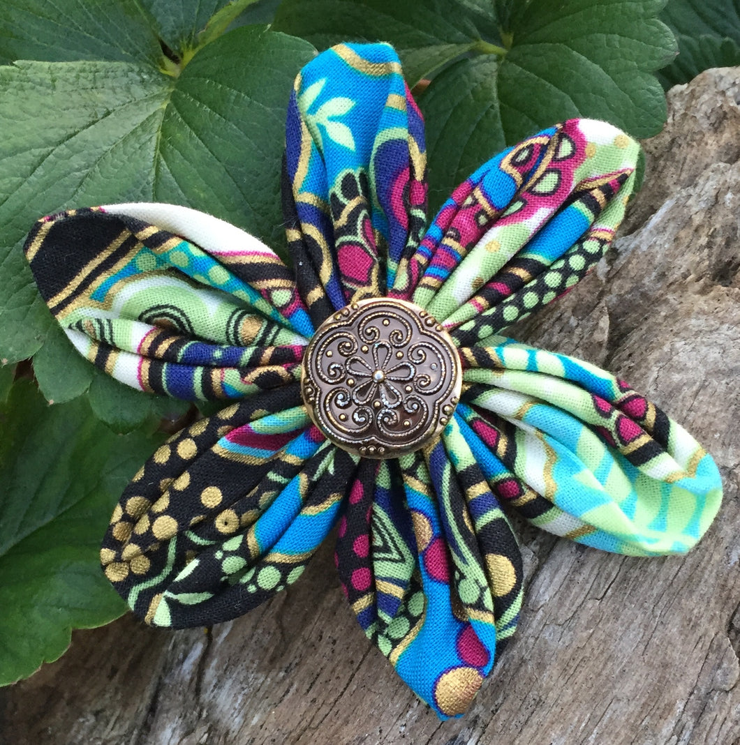 Fabric Flower - Black Teal Magenta Gold