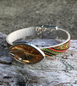 Leather Bracelet - Fancy printed leather with large peach crystal