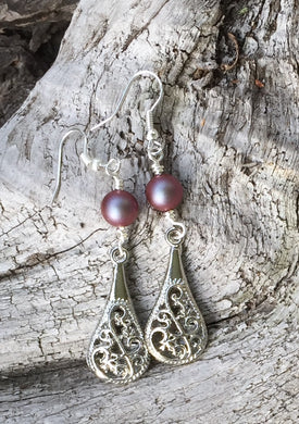 Filigree and Swarovski Pearl Earrings