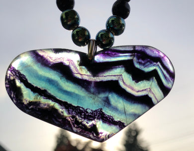 Mineral Necklace - Dark Fluorite Heart