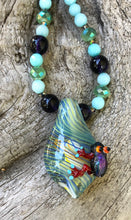 Load image into Gallery viewer, Lampwork Glass Necklace - Frog with Amazonite and Crystals