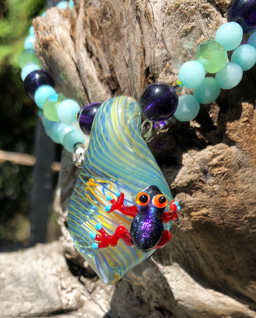 Lampwork Glass Necklace - Frog with Amazonite and Crystals