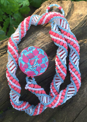 Beaded Necklace - Fuschia Cream and Seafoam Helix