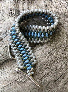 Snakeskin Bracelet - Gray and Light Blue