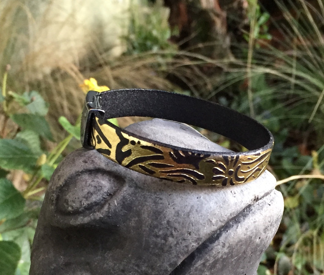 Leather Bracelet - Gold and Black Italian Printed Leather