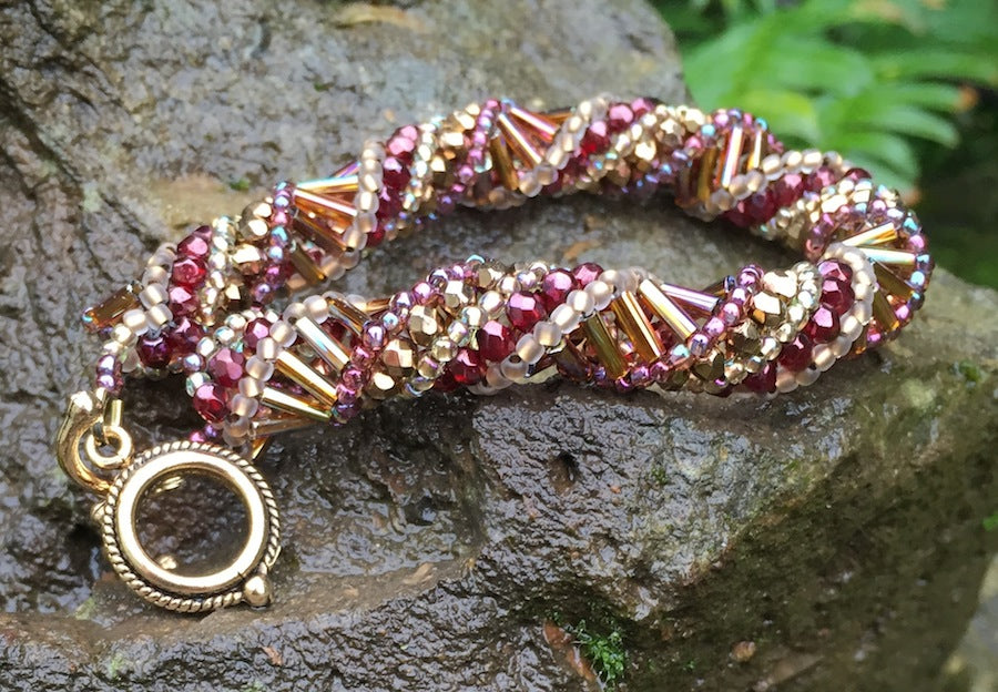 Beaded Bracelet - Gold and Cranberry Helix