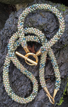 Load image into Gallery viewer, Kumihimo Necklace and Bracelet Set - Gold and Olive Multicolored