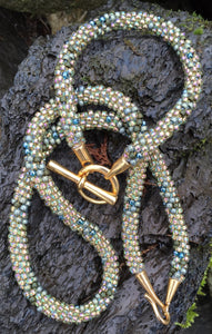 Kumihimo Necklace and Bracelet Set - Gold and Olive Multicolored