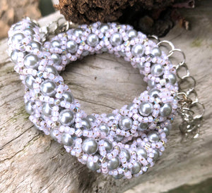 Beaded Necklace - Silver and Pink Netted Treasure
