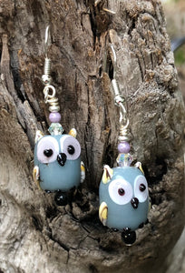 Gray Lampwork Owl Earrings
