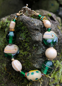 Lampwork Glass Bracelet - Green Beige Yellow