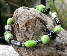 Load image into Gallery viewer, Lampwork Glass Bracelet - Black Lime Silver