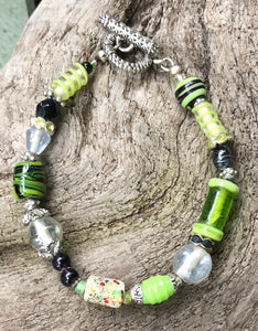 Lampwork Glass Bracelet - Green Clear Black Multi