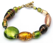 Load image into Gallery viewer, Lampwork Glass Bracelet - Green Gold Amber