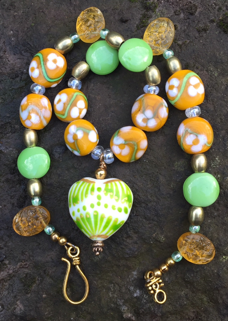 Lampwork Glass Necklace - Gold, Green, and Yellow