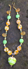 Load image into Gallery viewer, Lampwork Glass Necklace - Gold, Green, and Yellow