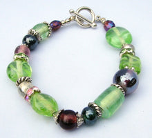 Load image into Gallery viewer, Lampwork Glass Bracelet - Green Purple Clear