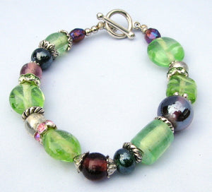Lampwork Glass Bracelet - Green Purple Clear